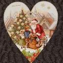 Karácsonyi ajtó ablakdísz, Dekoráció, Ünnepi dekoráció, Karácsonyi, adventi apróságok, Karácsonyi dekoráció, Lézer vágott falemezre készült dekupázs technikával. Többször lakkozott egyedi termék. Mér..., Meska