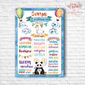 Szülinapi poszter - panda maci, láma - vízfesték hatású grafikával, Baba-mama-gyerek, Dekoráció, Képzőművészet, Otthon, lakberendezés, A3/-as méretű Szülinapi poszter kisfiús vízfesték hatású grafikával, igényes nyomtatásban (A3 42 x 2..., Meska