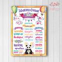 Szülinapi poszter panda macival, kislányos színekben, vízfesték hatású grafikával, Baba-mama-gyerek, Dekoráció, Képzőművészet, Otthon, lakberendezés, A3/-as méretű Szülinapi poszter kislányos színekben, vízfesték hatású grafikával igényes nyomtatásba..., Meska