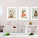 Süni és az ősz - babaszoba dekoráció, Állatok festmény,  Erdei állatok, gombák, süni, Gyerekszoba dekor, Falikép, , Baba-mama-gyerek, Dekoráció, Képzőművészet, Otthon, lakberendezés, A/4-es méretű nyomtatott faliképek gyerekszoba dekoráció  3 db  nyomtatott falikép keret nélk..., Meska