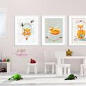 Róka koma szett - babaszoba dekoráció, Állatok festmény,  Erdei állatok, gombák, róka, Gyerekszoba dekor, Falikép, , Baba-mama-gyerek, Dekoráció, Képzőművészet, Otthon, lakberendezés, Fotó, grafika, rajz, illusztráció, A/4-es méretű nyomtatott faliképek gyerekszoba dekoráció  3 db  nyomtatott falikép keret nélkül 250..., Meska
