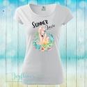 Summer Love Flamingo - feliratos női póló vízfesték hatású grafikával gyönyörű nyárias színekben, Ruha, divat, cipő, Női ruha, Felsőrész, póló, Summer Love Flamingo - feliratos női póló vízfesték hatású grafikával gyönyörű nyárias s..., Meska