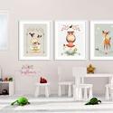 Erdei állatok szett - babaszoba dekoráció, Állatok festmény, gombák, maci, bagoly, őz, Gyerekszoba dekor, Falikép, Dekoráció, Képzőművészet, Otthon, lakberendezés, Baba-mama-gyerek, A/4-es méretű nyomtatott faliképek gyerekszoba dekoráció    3 db  nyomtatott falikép keret nélkül 25..., Meska