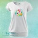 Boho Flamingo tropical - női póló vízfesték hatású grafikával gyönyörű nyárias színekben, Ruha, divat, cipő, Női ruha, Felsőrész, póló, Boho Flamingo tropical - női póló vízfesték hatású grafikával gyönyörű nyárias színekben  KÉRHETED E..., Meska