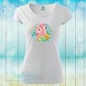 Boho Flamingo tropical - női póló vízfesték hatású grafikával gyönyörű nyárias színekben , Ruha, divat, cipő, Női ruha, Felsőrész, póló, Boho Flamingo tropical - női póló vízfesték hatású grafikával gyönyörű nyárias színekbe..., Meska