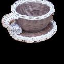 Kávéscsésze formájú kospó, Otthon & Lakás, Ház & Kert, Cserép & Kaspó, Fonás (csuhé, gyékény, stb.), Tedd az asztalra, polcra, szekrényre, és tedd bele a kedvenc kis virágodat, és kapsz egy remek dísz..., Meska