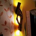 Függesztett hangulatlámpa fatörzsből, Otthon, lakberendezés, Lámpa, Hangulatlámpa, Famegmunkálás, Egy különleges falra szerelhető bodza törzsből faragott lámpa, mely hangulatvilágításos jellegéből ..., Meska
