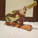 Egyedi bortartó, Mindenmás, Furcsaságok, Famegmunkálás, Egyedi kézzel készített, faragott, csiszolt bortartó. Az eltávolított fakéreg következtében, valami..., Meska