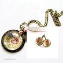 Vanília virágos - nyaklánc és franciakapcsos fülbevaló virágos vászonnal, Ékszer, Ékszerszett, Nyaklánc, Fülbevaló, Ékszerkészítés, Vanília színű alapon vidám virágos vásznat rejtenek az üveglencsék, hogy feldobják a napodat! :)   ..., Meska