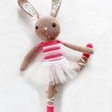 Adél - balerina nyuszi, tütüben, Baba-mama-gyerek, Játék, Baba játék, Horgolás, Hímzés, Saját tervezésű, barna nyuszilány, balettruhában. Hossza kb 32 cm. Szeme biztonsági szem, pofija, f..., Meska