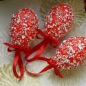 Mozaik tojás szett, Polisztirol tojásokat piros akrilfestékkel és t...