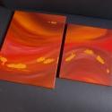 """""""Hullámzó melegség"""" festmény, Otthon, lakberendezés, Képzőművészet, Festmény, Akril, 2 darabból álló absztrakt alkotás meleg színekkel.  Alap: feszített vászon. Technika: akrilfesték. M..., Meska"""