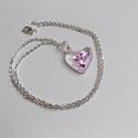 'Ice purple' lánc, Ékszer, Medál, Nyaklánc, Gyantából készült medál lánccal. Medál: szív forma, fényes, üvegszerű. Lánc: ezüstözö..., Meska