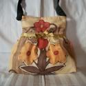Nagy virágos válltáska, Táska, Válltáska, oldaltáska, Erős, szép virágmintás anyagból varrtam táskát, amit szatén szalag díszít.  Mágnespatenttal záródik...., Meska