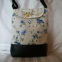 Kék virágos  - válltáska , Táska, Válltáska, oldaltáska, Fekete textilbőrből, sárga és kék virágos  anyagból készült ez a táskát. Vatelinnel bélelt, jó tartá..., Meska