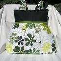 Zöld virágos - válltáska, Nagyon szép virágmintás anyagú ez a táska. El...