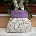 Lila  virágos - válltáska, Táska, Válltáska, oldaltáska, Nagyon szép virágmintás anyagú ez a táska. Nagyon szép, romantikus válltáska született, három részre..., Meska
