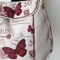 Pillangós Párizs - válltáska , Erős, egyszínű lenvászon anyagot, nagyon szép...