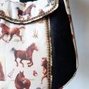 Lovas válltáska - kisebb, Táska, Válltáska, oldaltáska, Erős, egyszínű farmer anyagot szép lovas anyaggal kombináltam, amit különleges farkasfoggal díszítet..., Meska