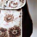 Akcióó!!! Barna virágos - válltáska , Táska, Divat & Szépség, Táska, Válltáska, oldaltáska, Ez a táska 4200.- helyett most 3800.-Ft. Erős, egyszínű anyagot szép, barna virágmintás pamutvászonn..., Meska