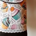 Muffin - válltáska, Táska, Válltáska, oldaltáska, Erős, egyszínű vastag anyagot, szép süteményes anyaggal kombináltam, amit farkasfoggal és pamut csip..., Meska