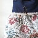 Romantikus buggyos válltáska II., Táska, Válltáska, oldaltáska, Erős farmer anyagot kombináltam szép virágos vászonnal, a textilek találkozásához hozza illő pamut s..., Meska