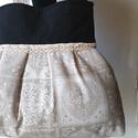 Beige romantika válltáska , Táska, Válltáska, oldaltáska, Vintage mintás lenvászon anyagot kombináltam farmerrel,  a textilek találkozásához hozza illő pamut ..., Meska