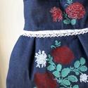 Szines viragok - válltáska II., Táska, Divat & Szépség, Táska, Válltáska, oldaltáska, Érős farmer anyagot stencil technikával díszítettem, színes virágok kerültek rá.  A táskát pluszban ..., Meska