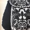 Szépséges fekete-fehér   - válltáska , Táska, Válltáska, oldaltáska, Erős fekete vasznat nagyon szép, elegáns, erős, fekete-fehér mintas vászon anyaggal kombináltam, ami..., Meska