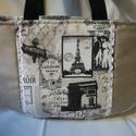Régi idők Párizsa - kézi táska, Erős, egyszínű  anyagot, mintás anyaggal kombi...