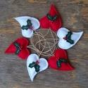 Magyal szívesen, Dekoráció, Karácsonyi, adventi apróságok, Ünnepi dekoráció, Karácsonyfadísz, Barkácsfilc felhasználásával készült ez a 6 db-os szív alakú karácsonyfadísz garnitúra. M..., Meska