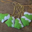 Zöld a fenyő, Dekoráció, Karácsonyi, adventi apróságok, Ünnepi dekoráció, Karácsonyfadísz, Barkácsfilc felhasználásával készült ez az 5 db-os saját tervezésű, harang alakú karácson..., Meska