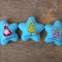 Csillagok, Dekoráció, Ünnepi dekoráció, Karácsonyi, adventi apróságok, Karácsonyfadísz, Barkácsfilc felhasználásával készült ez a 3 db-os csillag alakú karácsonyfadísz garnitúra...., Meska