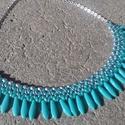 Türkizkék-ezüst dárdás nyaklánc, Ékszer, Nyaklánc, Türkizkék és ezüst cseh gyöngyökből készült divatos nyaklánc. Hossza: 41 cm + 5 cm láncho..., Meska
