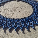 Kék-fekete gyöngygallér, Ékszer, Nyaklánc, Kék és fekete cseh kásagyöngyből készült gyöngygallér. Hosszúsága: 36 cm + 4 cm lánchoss..., Meska