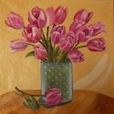 Tulipánok - olajfestmény, Dekoráció, Képzőművészet, Kép, Festmény, Festészet, Fotó, grafika, rajz, illusztráció, Tulipánok - olajfestmény 30 X 30 cm , vászonra készült, lakkozott , keret nélküli darab, Meska