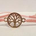 Makramé karkötő élet fája medállal, Ékszer, Karkötő, Saját készítésű makramé karkötő  Rózsa arany színű élet fája medállal 0,4 mm-es zsinó..., Meska