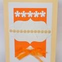 Szülinapi vagy névnapi narancssárga mintás képeslap, Naptár, képeslap, album, Képeslap, levélpapír, Szülinapra vagy névnapra 15x21 cm. méretű lap. Alapanyaga papír. Fehér alapra narancssárga la..., Meska