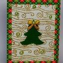 Karácsonyi képeslap, filc fenyőfával, Dekoráció, Naptár, képeslap, album, Ünnepi dekoráció, Karácsonyi, adventi apróságok, Ajándékkísérő, képeslap, Képeslap, levélpapír, Karácsonyi 12x16 cm. nagyságú képeslap. A lap alapanyaga színes papírlap. Rajta arany mintás,..., Meska