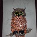 Quilling Bagoly, Dekoráció, Dísz, Kép, Papírművészet, A 4-es színes keretben készült quilling technikával.5 napig készítettem. Először quiling tekerővel ..., Meska