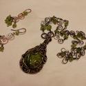 Zöld drúzás achát ásvány nyaklánc és fülbevaló Zsuzsinak, Antikolt , tömör vörösréz drótból és egy s...