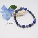 Dumortierit- lapis lazuli karkötő, Ékszer, Karkötő, Ékszerkészítés, A dumortierit pozitív hozzáállást ad az életben, bátorságot és bizalmat erősít, segít könnyebben ve..., Meska