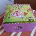 Tündéres, cicás doboz, Kívül-belül mályva színűre pácoltam ezt a d...