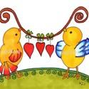 Madárkák szívvel, Kedves madárkákat rajzoltam erre a képre.  Kép...