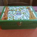 Boróka tündéres doboz, Kívül-belül zöld színűre pácoltam ezt a dob...