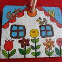 Házikók faképen, Képzőművészet, Baba-mama-gyerek, Dekoráció, Otthon, lakberendezés, Kedves házikókat festettem erre a rusztikus falapra akril festékkel, melyek faliképként díszíthetik ..., Meska