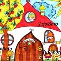 Manók házikóban, Három kismanót rajzoltam le házikójukban rajzk...