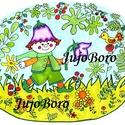Manó harangvirággal, Baba-mama-gyerek, Dekoráció, Képzőművészet, Otthon, lakberendezés, Kismanót rajzoltam le harangvirággal rajzkartonra, majd filccel, lakkfilccel színeztem.  Méret: 21 x..., Meska