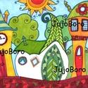 Manóházak, Baba-mama-gyerek, Dekoráció, Képzőművészet, Otthon, lakberendezés, Manóházakat rajzoltam le rajzkartonra, majd filccel, lakkfilccel színeztem.  Méret: 21 x 30 cm, Meska