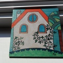 Házikó faképen, Kedves házikókat festettem erre a rusztikus fala...